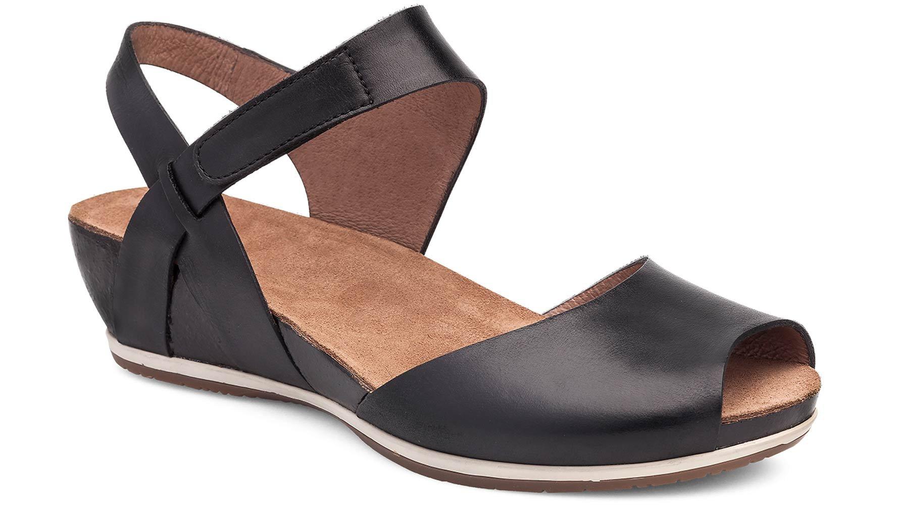 Dansko Women's Vera Flat Sandal, Black Burnished, 38 M EU (7.5-8 US) by Dansko (Image #1)
