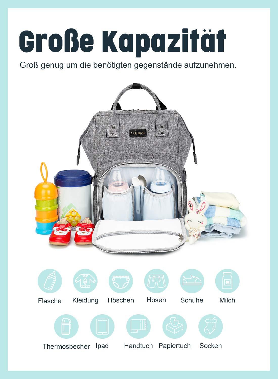 Baby Wickelrucksack Wickeltasche Multifunktional mit USB-Lade Port Oxford Wasserdichte Große Kapazität Babytasche für Reise,Grau
