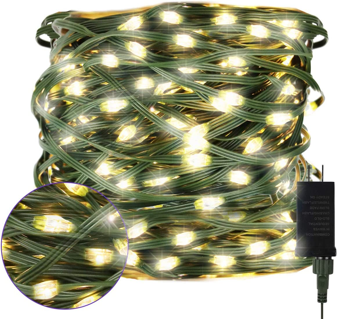 Juhefa String Lights, Plug-in Green Wire 108FT 200 LED Christmas Tree String Lights,IP65 Waterproof & 8 Modes Fairy Lights for Garden/Patio/Indoor/Outdoor Decor (Warm White)