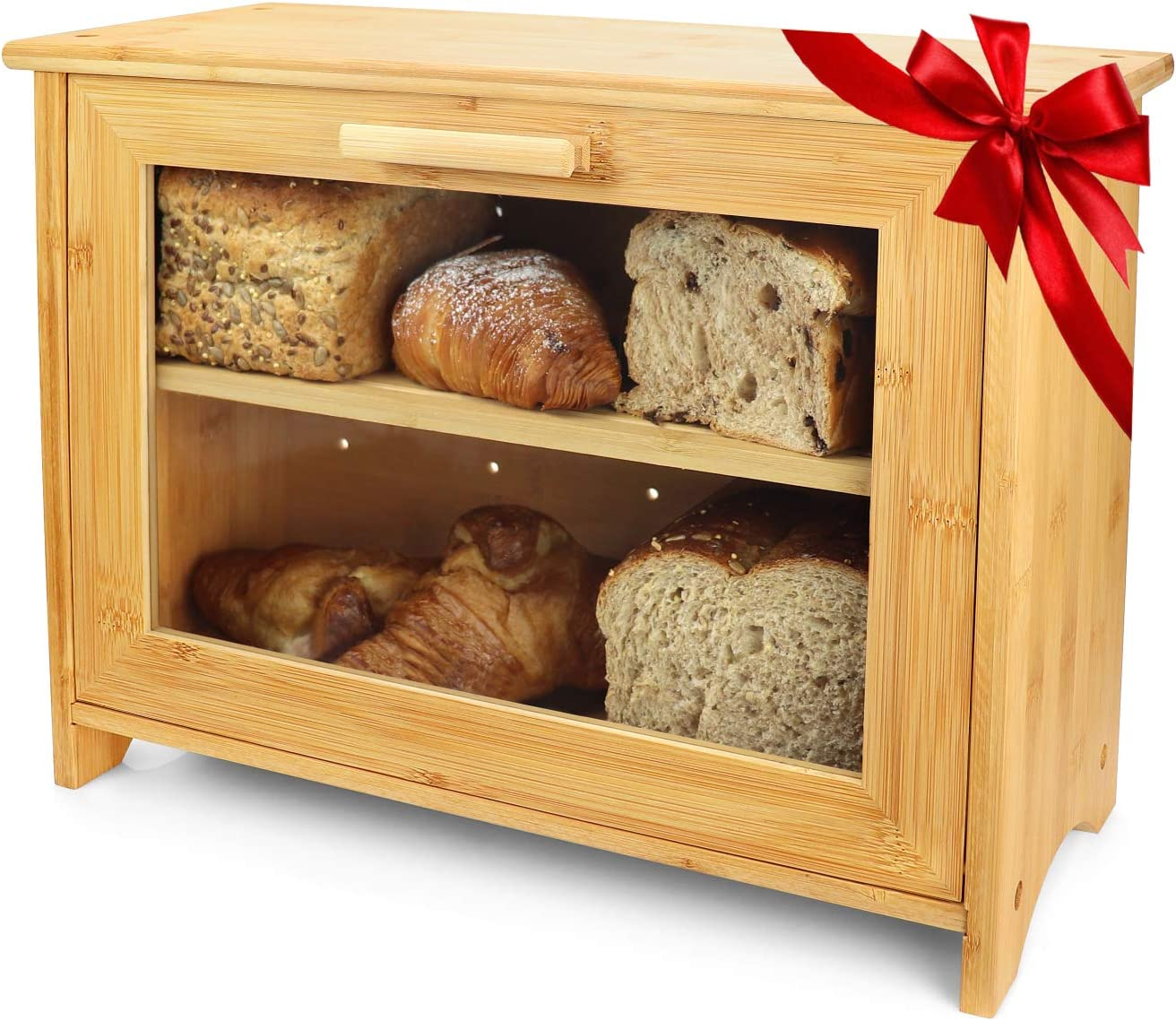 PRISTINE BAMBOO Bread Box - Baker Designed, Freshness for Days - 2 Layer Large Breadbox for Homemade Bread, Bread Bin for Kitchen Countertop, Double Bread Storage Container (assembly required)