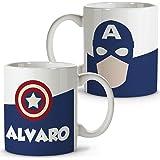 Taza Superhéroes Personalizada con Nombre. Regalo Friki. Varios Diseños y Colores Interior. Capitán América