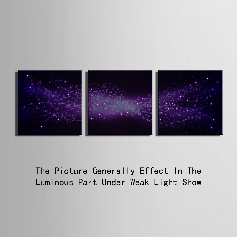 E-Home gedehnt Wand LED Leinwand Drucke (Purple Star) LED Wand gedehnt Kunstdruck Blinkende Optische Faser Malerei LED Dekorationen, Canvas, violett, 60x60cm3pcs 6b6cc1