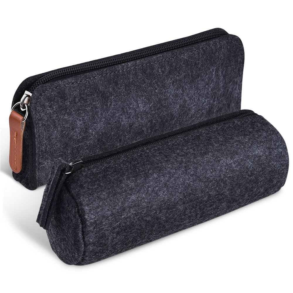 Kuuqa Dark Gray Felt Pen Pencil Case Stationery Pouch Bag Case Cosmetic Bags, Set of 2 Kuuqa-Pencil Case-02