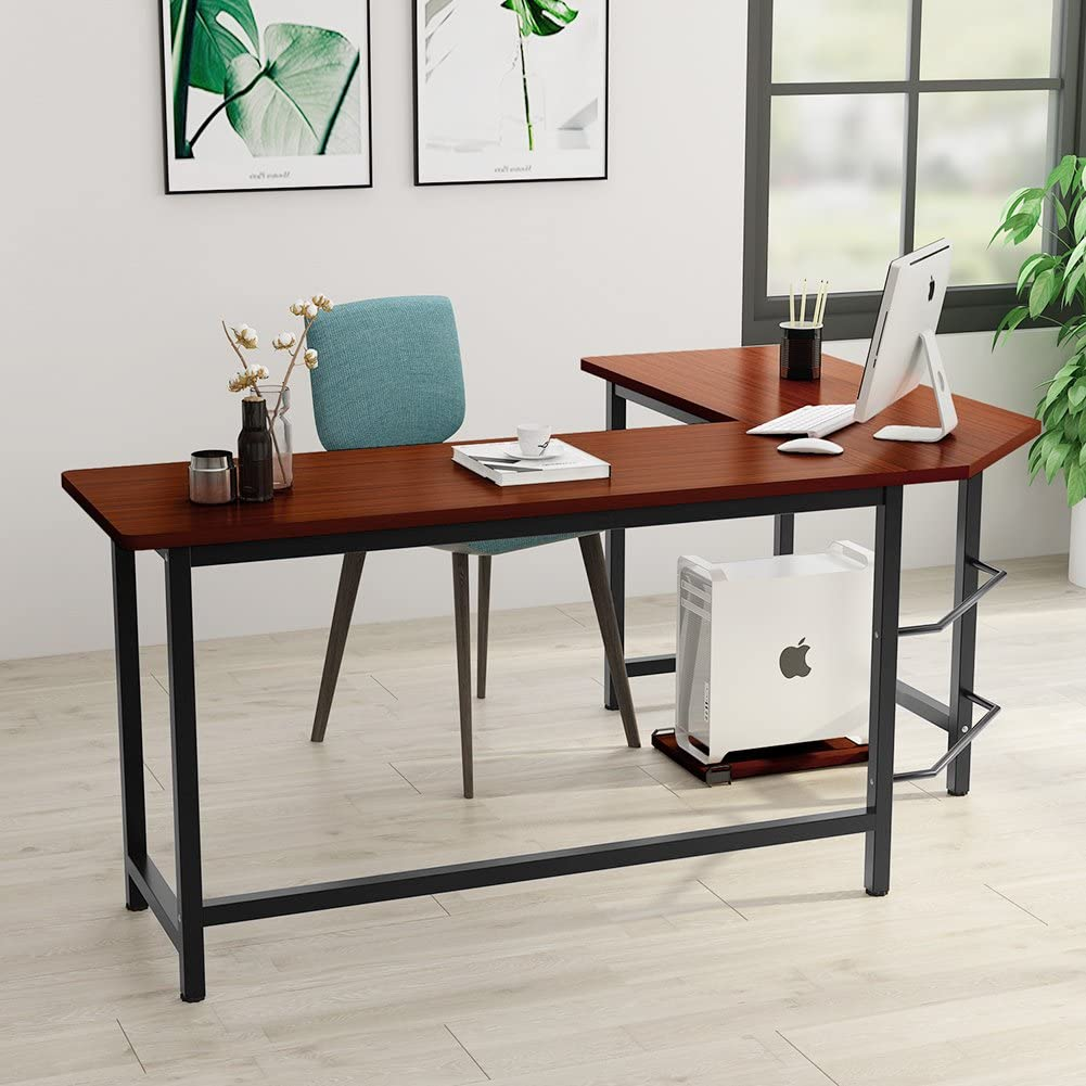 Details about Tribesigns Modern L-Shaped Desk Corner Computer Desk PC Latop  Study Table ~Brown