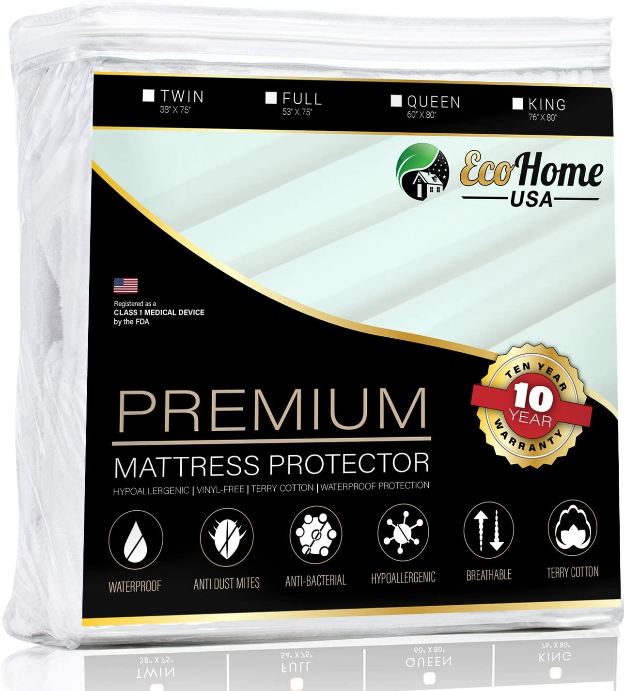Eco Home USA Premium Mattress Pad Protector - Waterproof & Hypoallergenic Cover - Vinyl Free, Terry Cotton Topper (Queen)