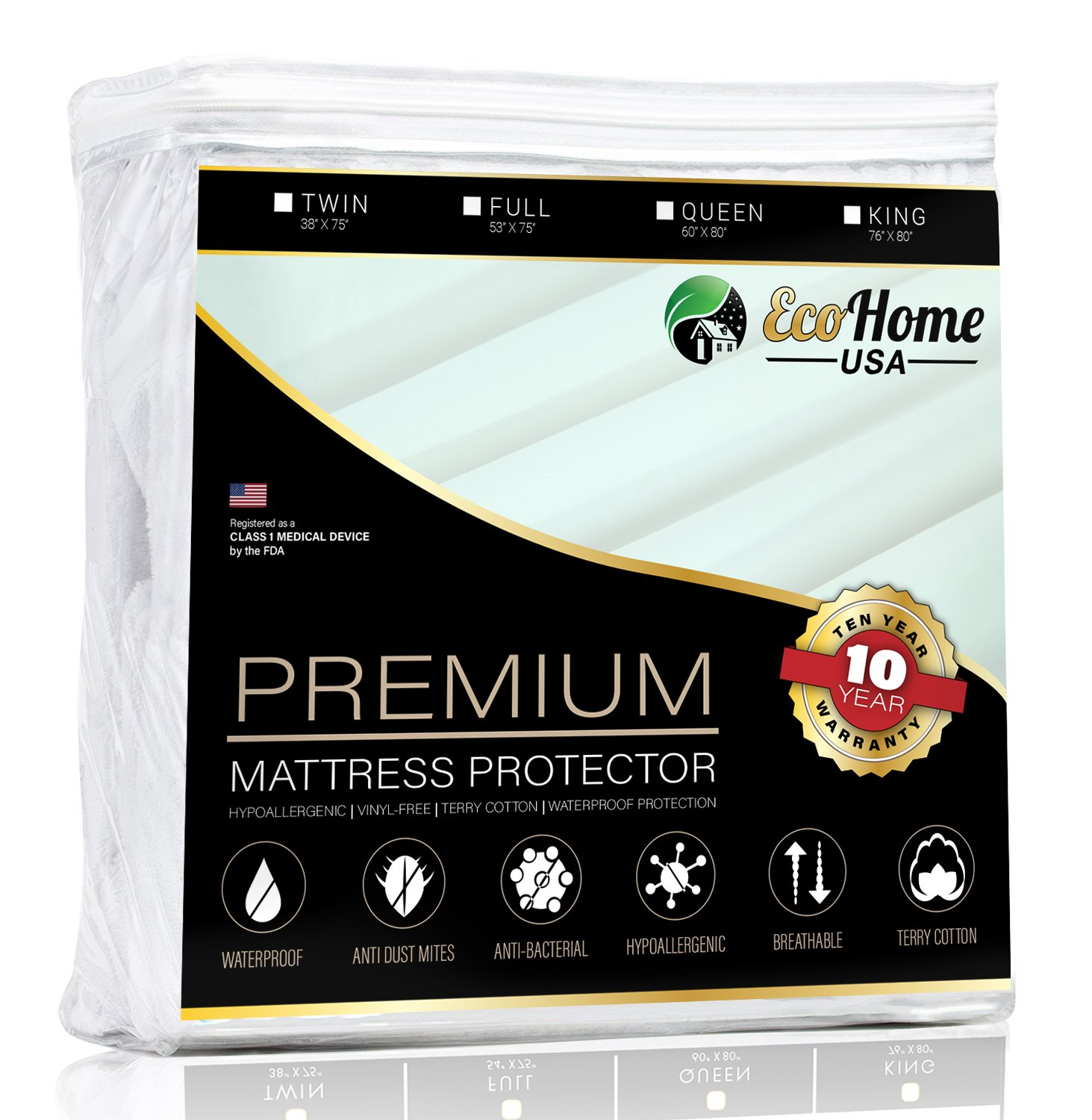 Eco Home USA Premium Mattress Pad Protector - Waterproof & Hypoallergenic Cover - Vinyl Free, Terry Cotton Topper (King)