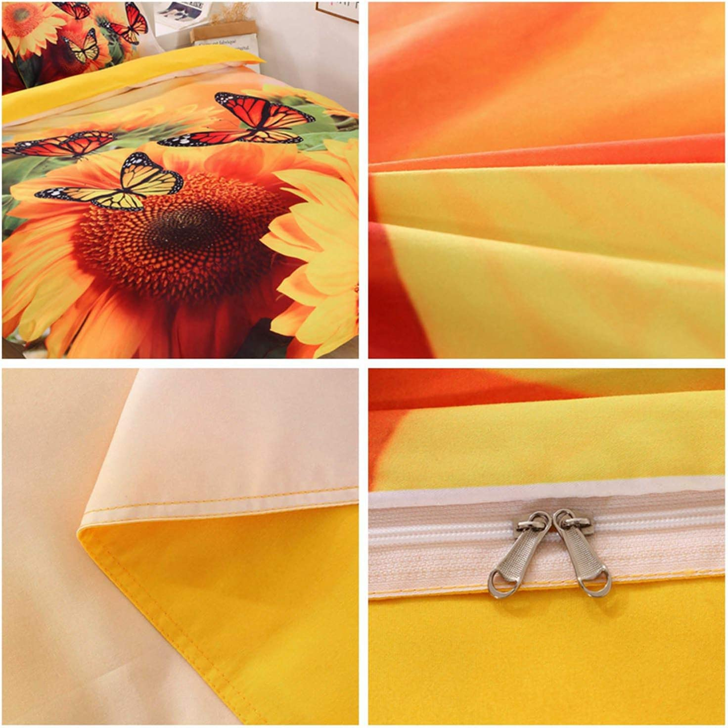 3 Pieces Comforter Cover Bedding Sets with Pillowcases ENCOFT Yellow Sunflower Duvet Cover Sheet Bedding Sets Twin//Full.Queen//King Sunflower, Queen