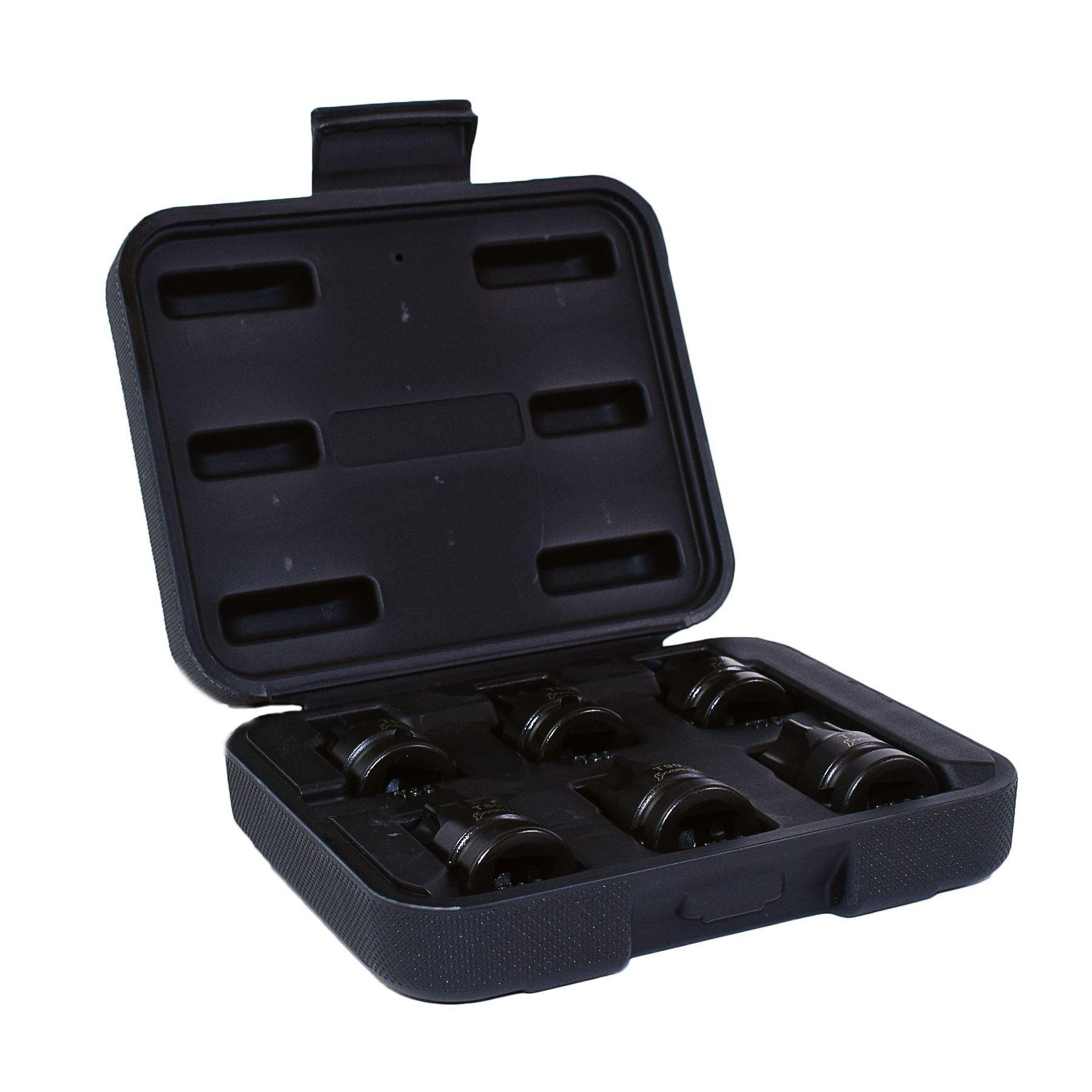 Impact 1/2'' Drive Shallow Stubby Torx Star Male Bit Sockets T55 - T100 6pc Set by AB Tools-US Pro