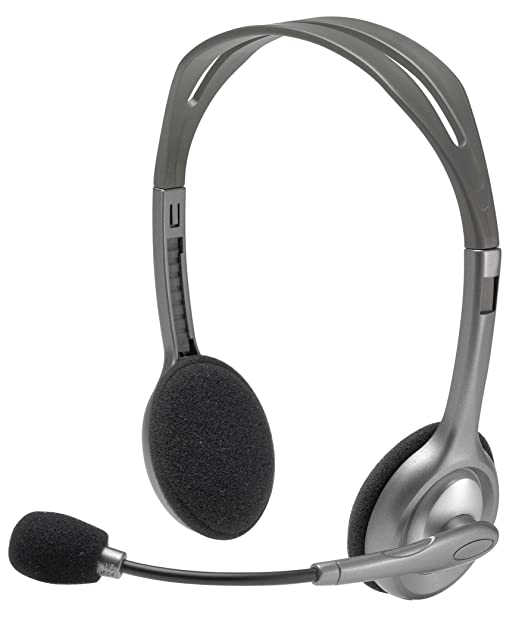 Logitech H110 Stereo Headset, Black  amp; Grey PC Headsets