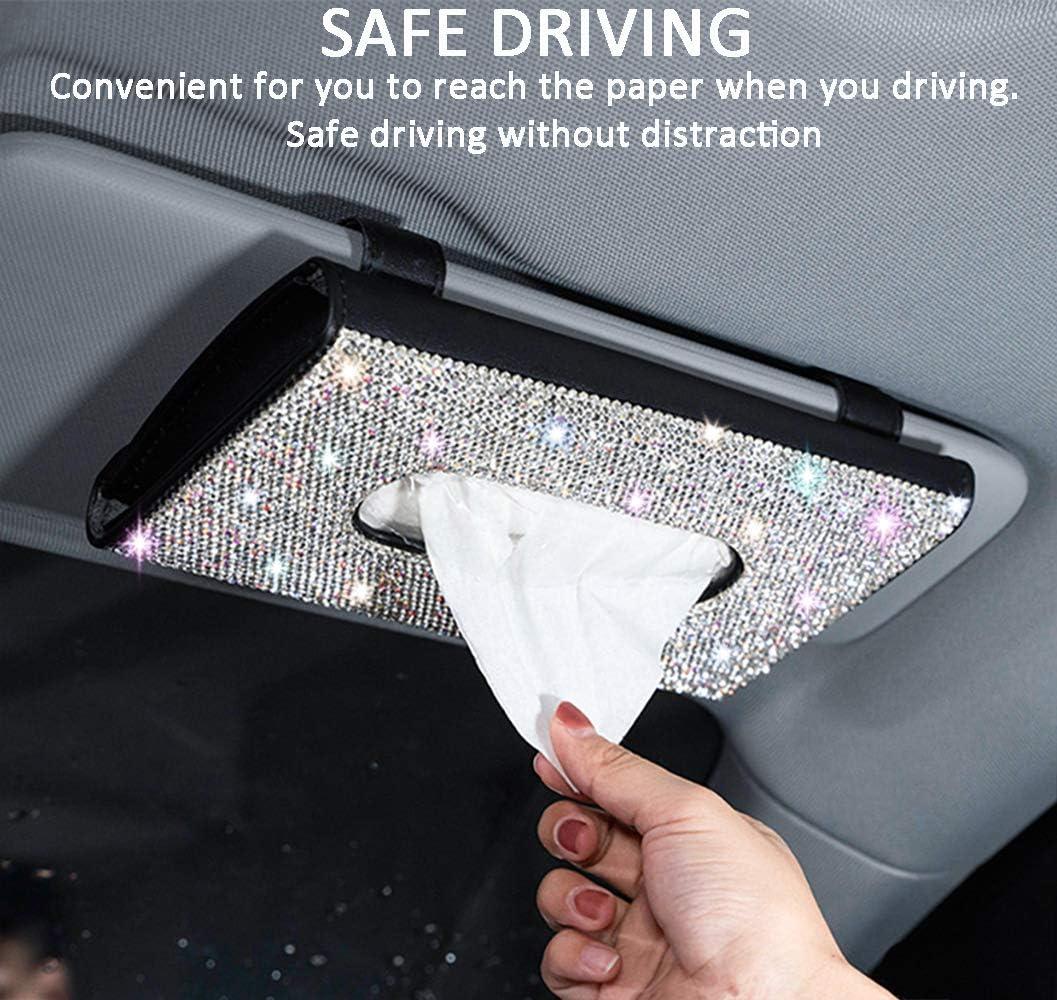 MTGOCHA PU Leather Car Napkin Holder Luxury Car Tissue Box Case Crystal Rhinestone Paper Towel Box Bling Car Accessories for Women Girls Bling Car Visor Tissue Holder