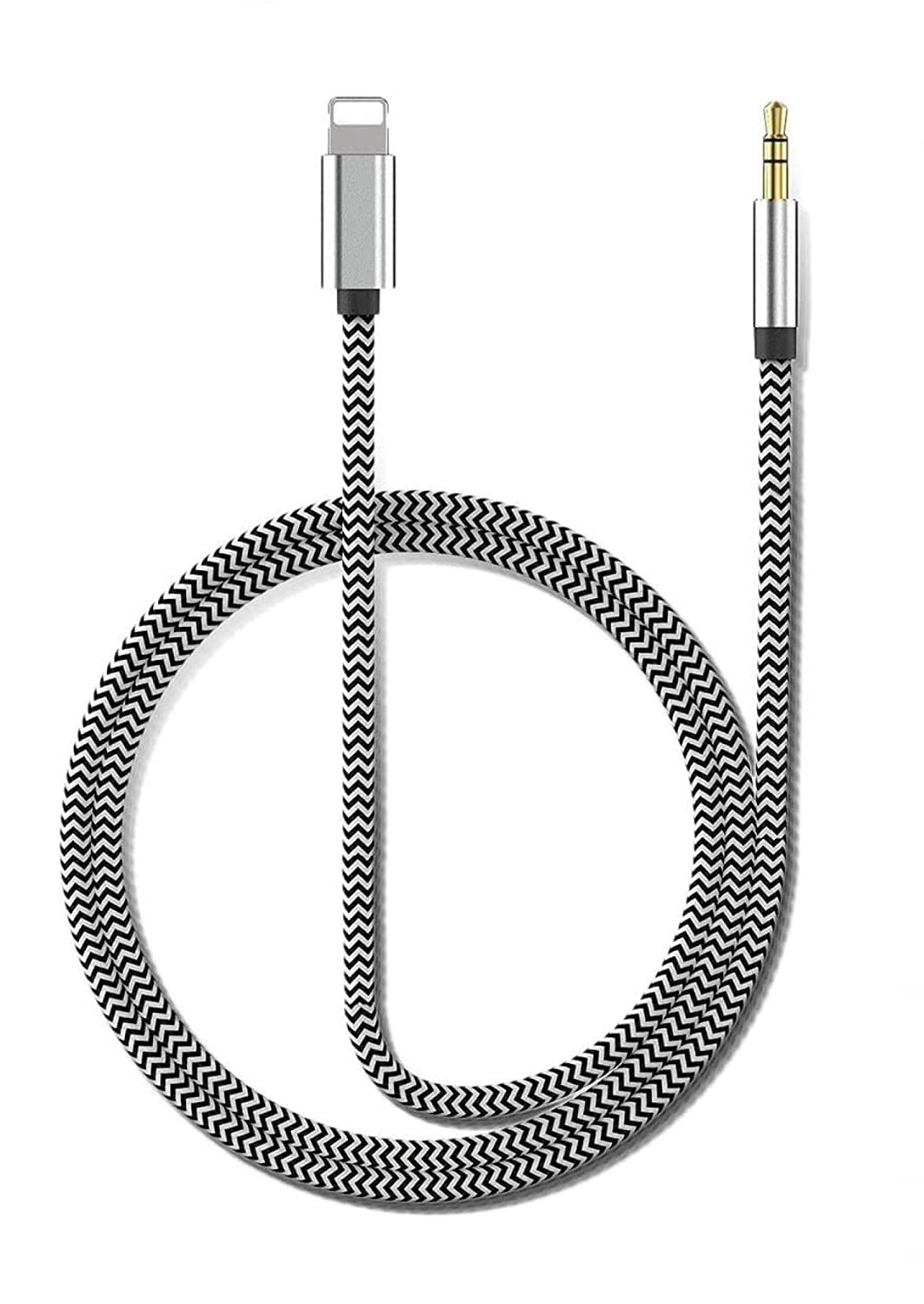 [Apple Mfi Certified] Lightning to 3.5mm Audio Cable,for iPhone 3.5 mm Headphone Jack Adapter Nylon Braided Aux Cord for iPhone 12/11/XS/XR/X/iPad to Car/Home Stereo, Speaker, Headphone - 3.3ft Silver