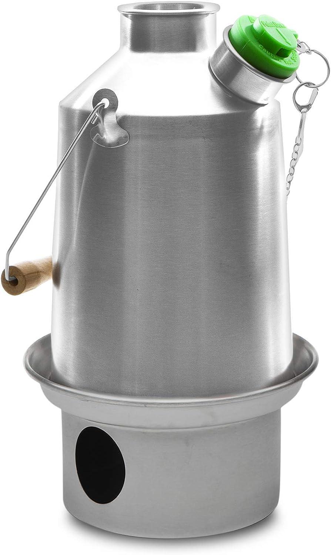 Campo base Kelly Kettle ® 1.5ltr (acero inoxidable) - Camping hervidor de agua y estufa de campamento en uno. Ultra rápido ligero Cosina integral ...