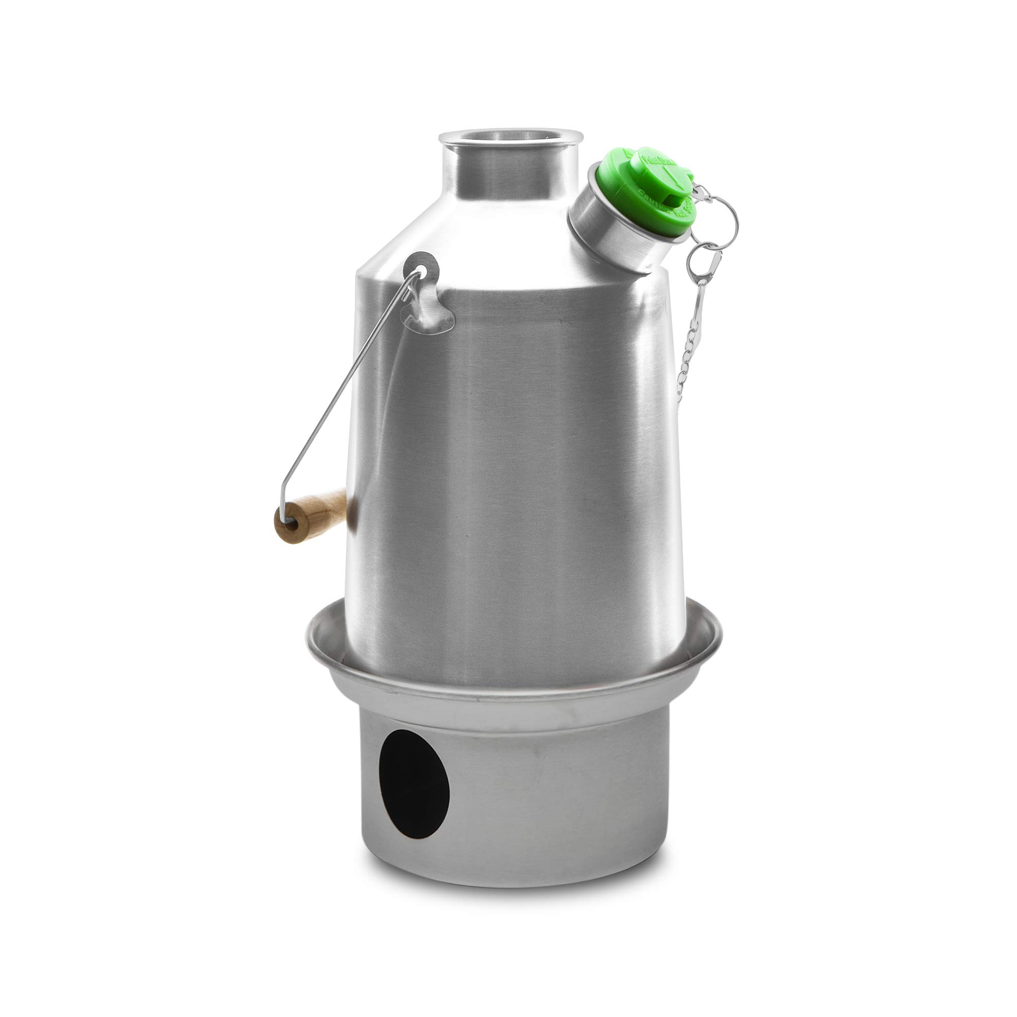 'Base Camp' Kelly Kettle® 1.6 ltr (Stainless Steel) Green Whistle sounds when boiled. Camping Kettle and Camp Stove in one. Ultra fast, lightweight, wood fuelled stove. NO Batteries, NO Gas, FREE Fuel! Perfect for Outdoors, Fishing, Camping, Scouting, Groups, Emergency Preparedness. Weight 2.55lb / 1.16kg