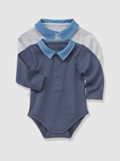 VERTBAUDET Lote de 2 bodies para bebé con cuello polo Vaquero grisáceo 12M-74CM