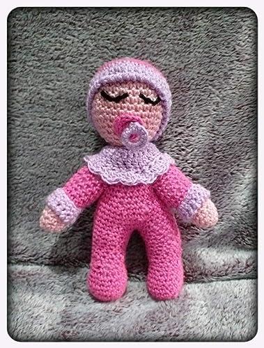 Peluche dormilón rosa, con chupete, de ganchillo-crochet ...