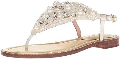 82a3bb914 Kate Spade New York Women's SAMA Flat Sandal Ivory Satin 5 Medium US
