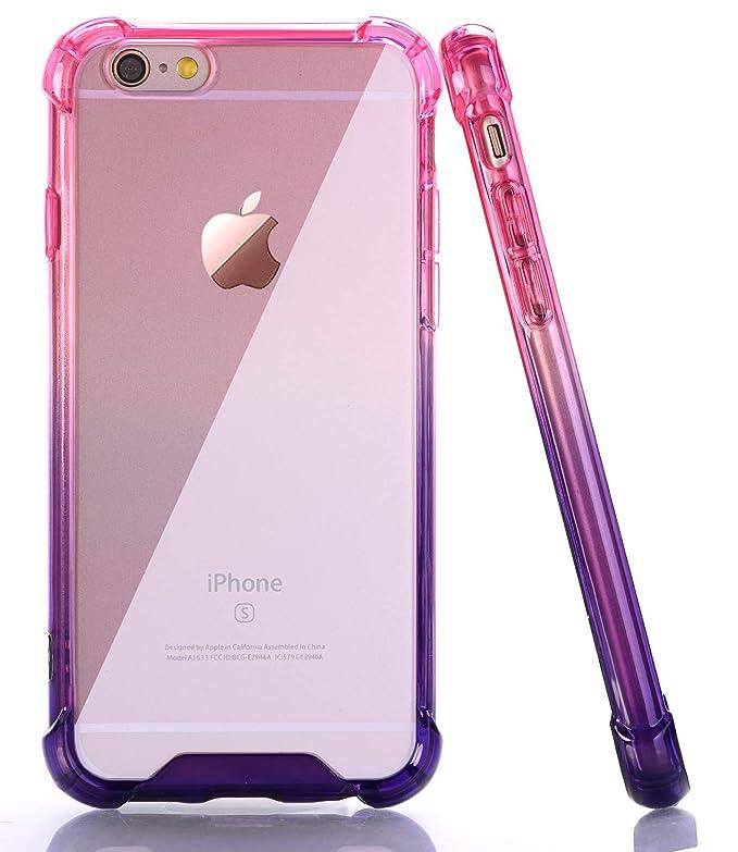 Baisrke Purple Hot Pink Gradient Shock Absorption Flexible Tpu Soft Edge Bumper Anti Scratch Rigid Slim Protective Cases Hard Plastic Back Cover For I Phone 6 Plus/I Phone 6s Plus[5.5 Inch] by Baisrke