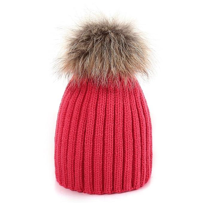 Laitb Bebè Gorros de Caliente de Invierno de Punto Sombrero de Pompón de  Piel Genuina Mapache e60c3ab603e