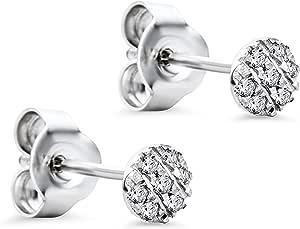 Pendientes Orovi con diamantes, para mujer, de oro blanco de 9 quilates (375) y diamantes de 0,05 quilates
