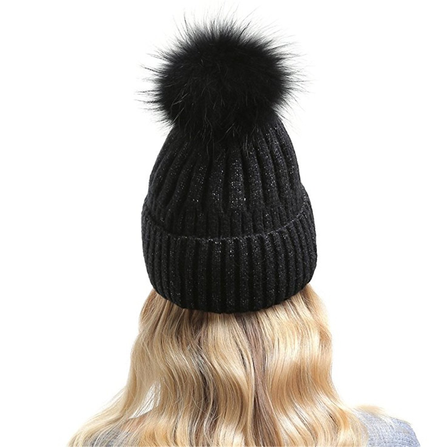 db8e800f0b0 Qhome Winter Knitted Wool Beanies Hats For Women Spring Autumn Hat With Real  Raccoon Fur Pompom New Fashion Cashmere Caps at Amazon Women s Clothing  store