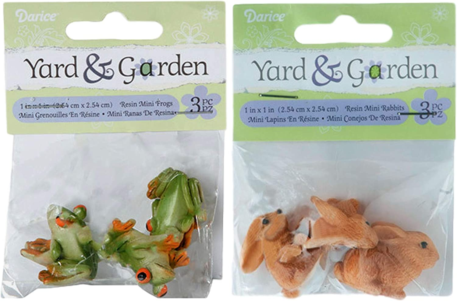 Darice Yard & Garden Miniature Rabbits and Frogs Resin Figurines Fairy Garden Accessories — Garden Decorations, Dollhouse Accessories and Lawn Ornaments — 1 x 1 x 1 Inches Each, 2 x 3-Pack