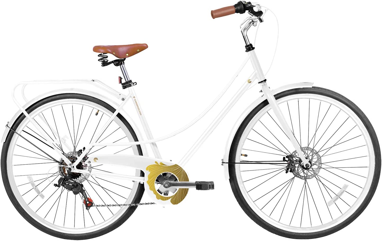Gama Bikes City Avenue 700C,28 6 Speed Shimano and Disc Brake Bicycle Elegant Design on a Practical Commuter Step-Through Comfort Bike Frame Turquoise