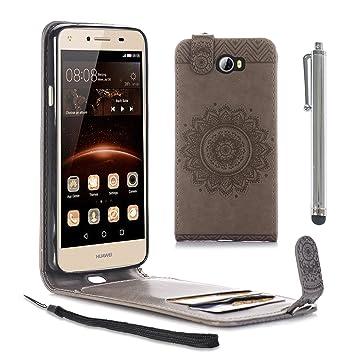 CLM-Tech PU Cuero Carcasa para Huawei Y5 II / Y5 2 Flip Case Gris ...