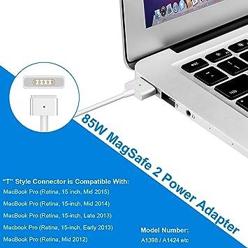 MacBook Pro Cargador Fuente, 85 W MagSafe 2 T de punta ponkor Fuente de alimentación para Apple Mac Pro con Retina Display 15 pulgadas