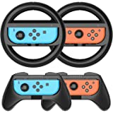 HEYSTOP JoyCon Grip kompatibel med Nintendo Switch och Racing ratt 4-pack spelomkopplare kontrollhandtagssats för…