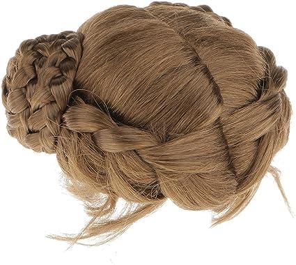 BJD Doll 1//4 7-8 Wig Long Curly Wave Bun Hair Mohair for Girl Blonde Brown