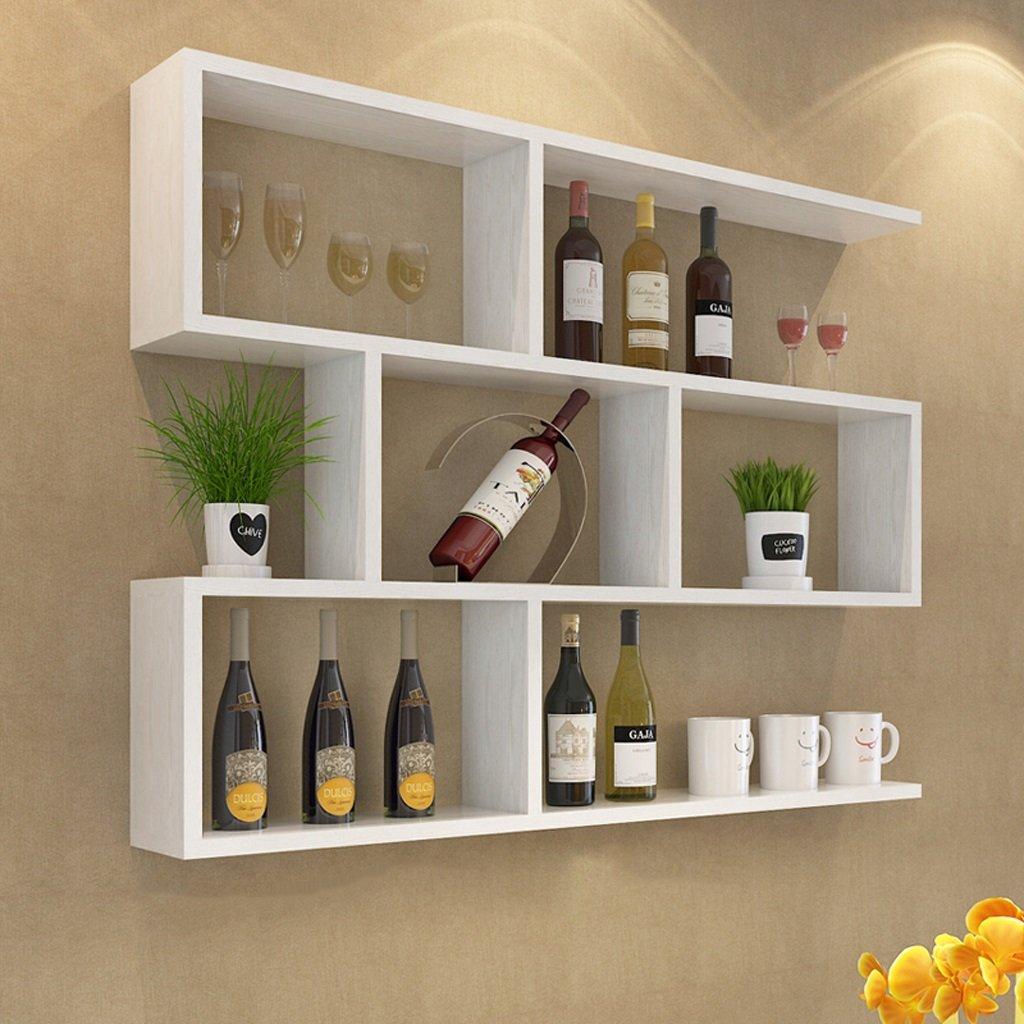 Walled Shelf Modern Simple Restaurant Shelf Decorative Red Wine Rack Set Lattice Storage Tower ( Color : White maple color , Size : 10020cm )