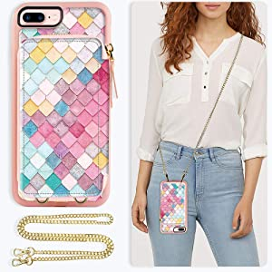 ZVE Case for Apple iPhone 8 Plus and iPhone 7 Plus, 5.5 inch, Wallet Case with Crossbody Chain Credit Card Holder Slot Zipper Purse Case for Apple iPhone 8/7 Plus and 8 Plus 5.5 - Mermaid Wall
