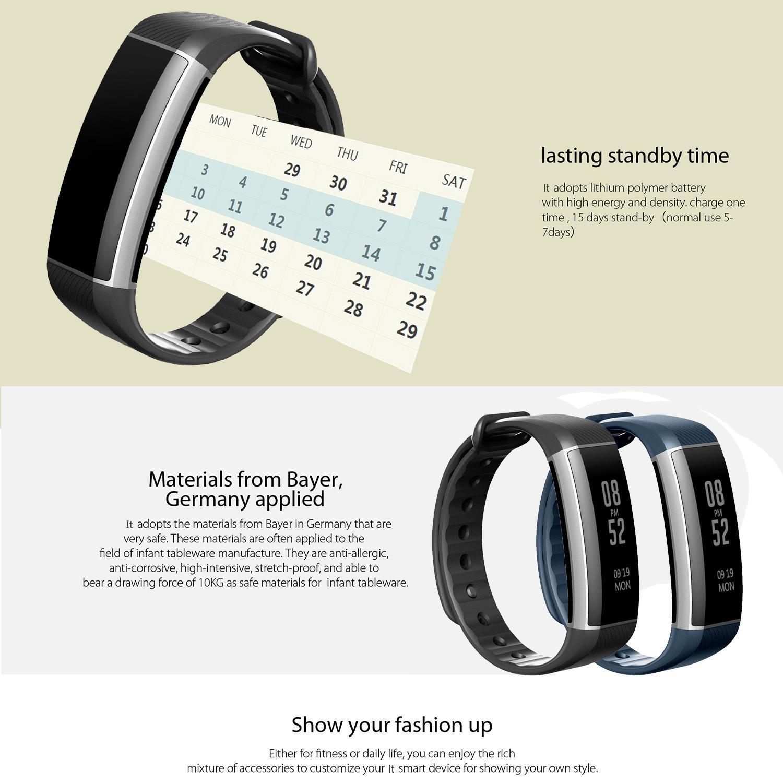 Kobwa Reloj inteligente, impermeable IP67, pulsera fitness con pulsómetro, podómetro, monitorización del sueño, consumo de calorías, llamadas, mensajes, ...