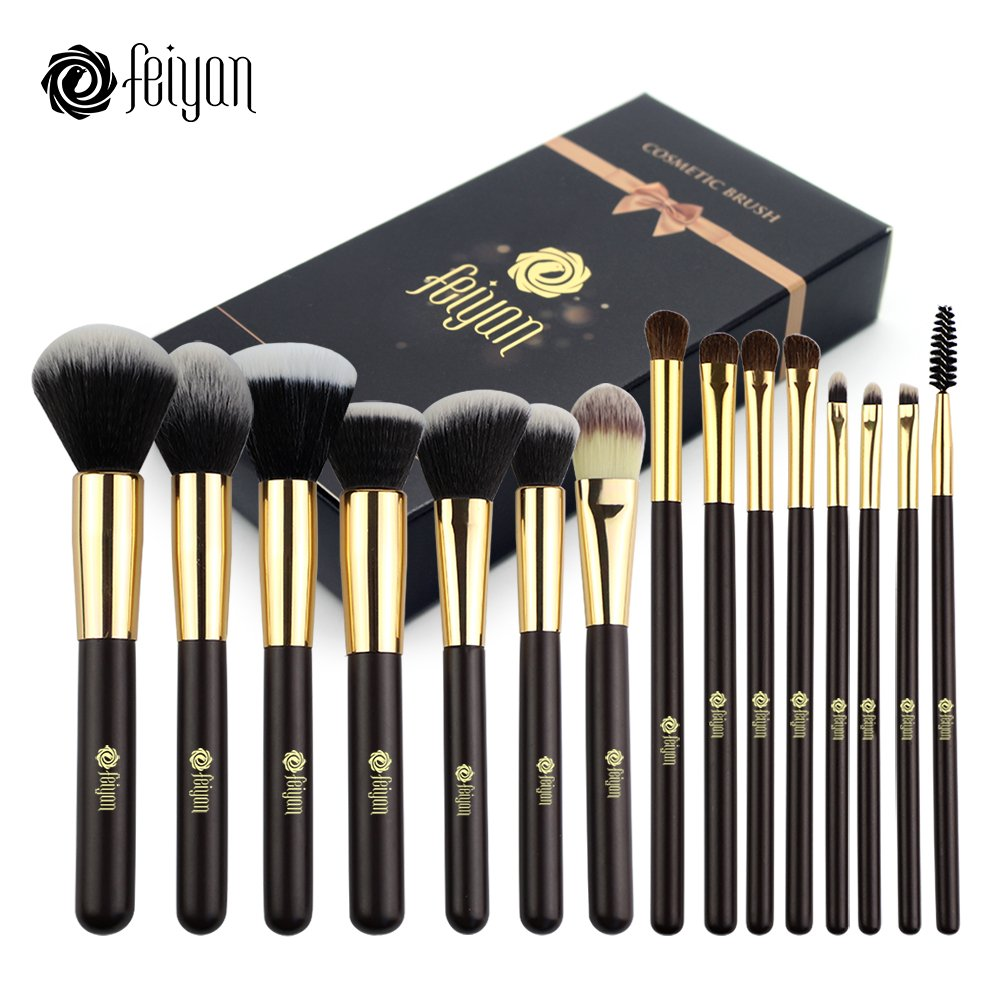 FEIYAN Professional Makeup Brushes Set Natural Goat Hair 15 Pieces Face Eyeshadow Eyeliner Foundation Blush Lip Brushes tool with Make up Bag (Black)
