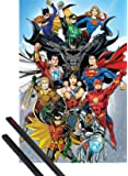 1art1 DC Comics Poster (36x24 inches) Rebirth, DC Universe and 1 Set of Black Poster Hangers