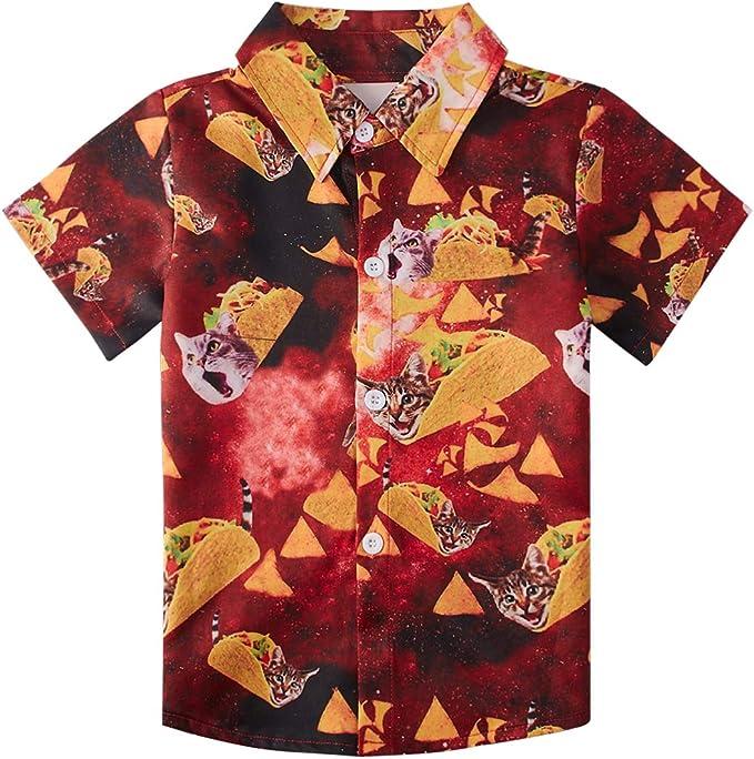 Baby Boys Cartoon Car Print Aloha Shirt Summer Casual Button Down Short Sleeve Hawaiian Tops