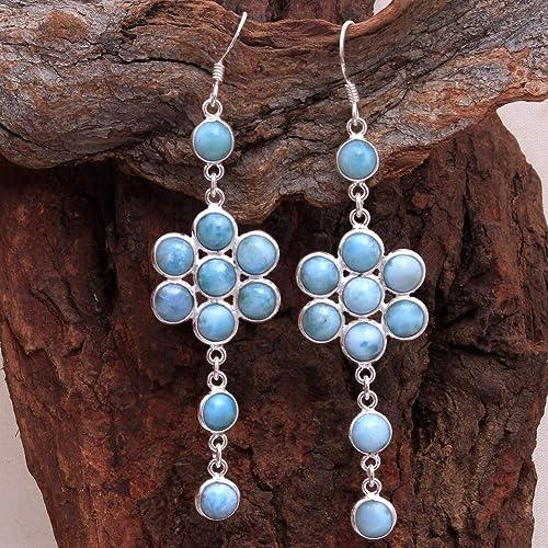 Round Larimar Gemstone Handmade Earrings Solid 925 Sterling Silver Women Jewelry