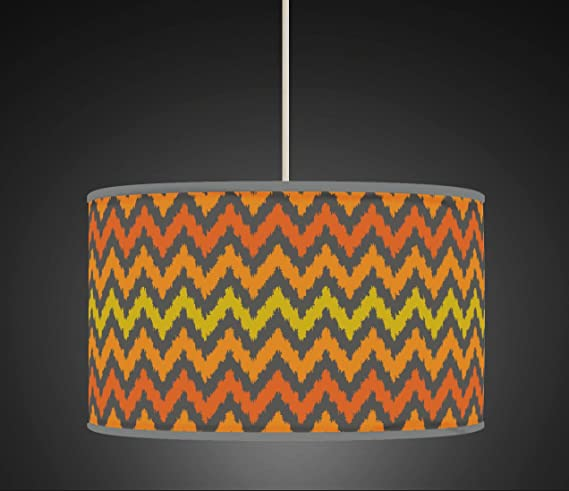 30cm chevron orange grey retro handmade giclee style printed fabric 30cm chevron orange grey retro handmade giclee style printed fabric lamp drum lampshade or ceiling pendant mozeypictures Choice Image