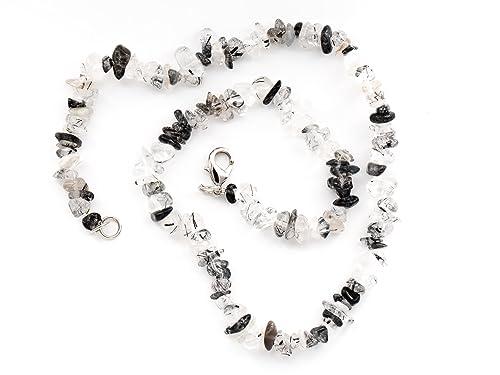 133ba4fce9d33f Taddart Minerals - Schwarz Weiße Splitter Halskette aus dem natürlichen  Edelstein Turmalinquarz mit 45 cm Länge - handgefertigt  Amazon.de  Schmuck