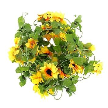 Wadoy Kunstlich Sonnenblume Girlande Blume Weinstock Fur Zuhause