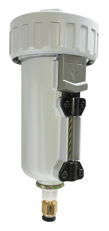 "PneumaticPlus SAD402-N04D-MEP Compressed Air, External Water Trap Valve with Automatic Drain 1/2"" NPT - Metal Bowl Sight Glass, 10 Micron"