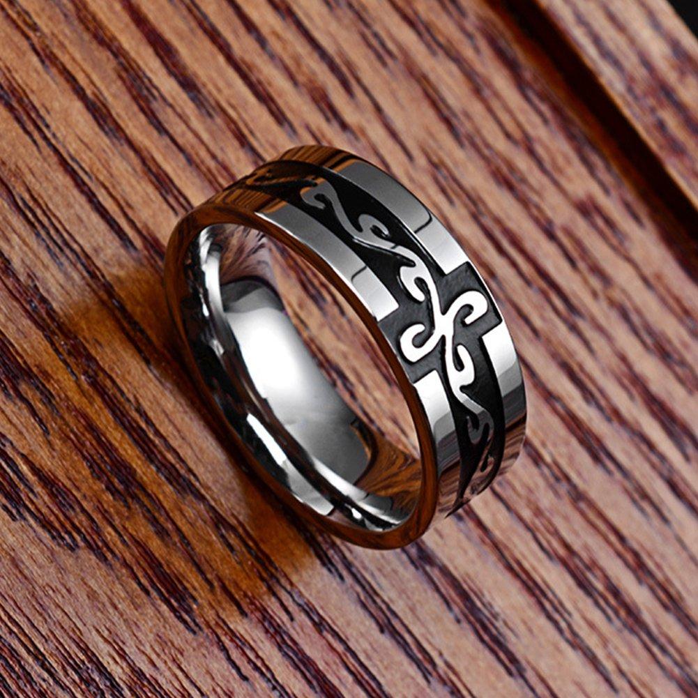 JAJAFOOK Titanium Ring Black Silver Lords Prayer Engraved with Cross Praying 7mm Size 6-12