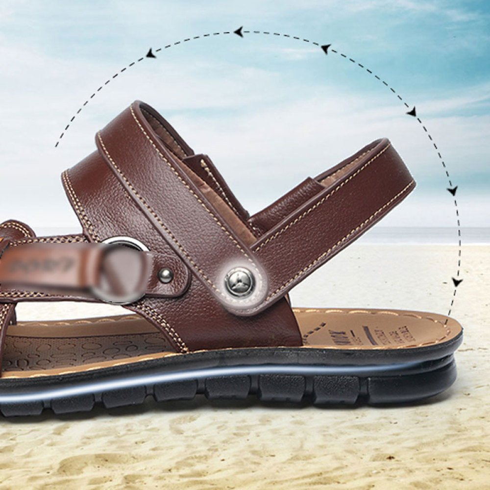 Männer Peep Toe Sandalen Strand Schuhe Bad Strand Casual Schuhe Sommer Rutschfeste Leder Casual Strand Hausschuhe Schuhe Größe Blau 688136