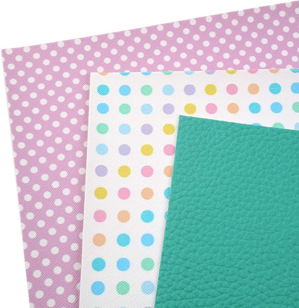 20 cm x 34 cm for Earrings Headbands Covers Making David Angie Solid Colors Dots Printed Faux Leather Sheet Litchi PU Synthetic Fabric Assorted 6 PCS 8 x 13 Mixed Fabric