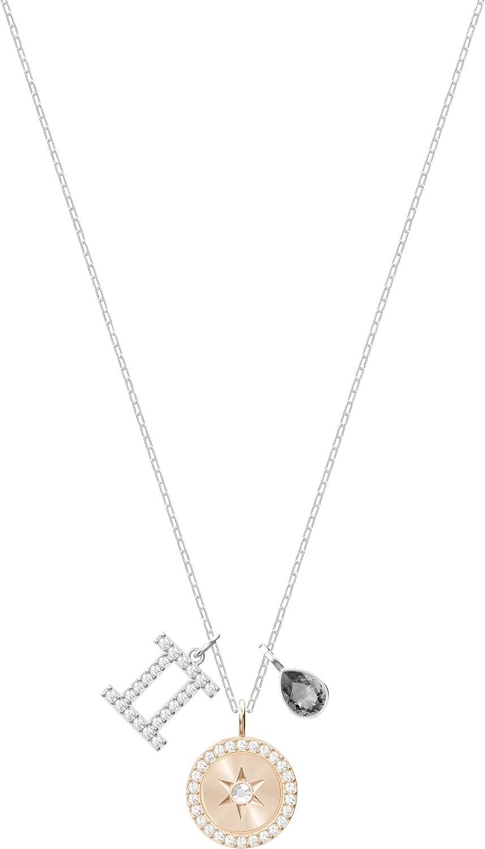 Swarovski Colgante Zodiac, Géminis, de Mujer, Gris, Baño de Rodio