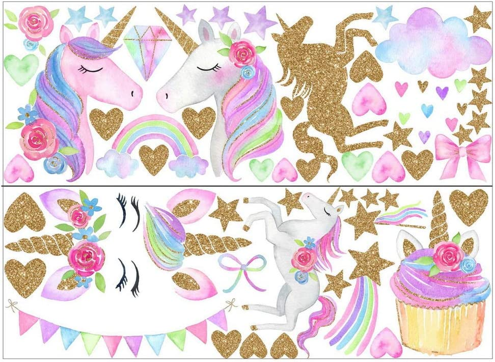 25 * 70CM nuoshen 2 Sheets Unicorn Wall Stickers,Fairy Tale Pattern Wall Decoration Home Decal for Girls Boys Bedroom Ornament