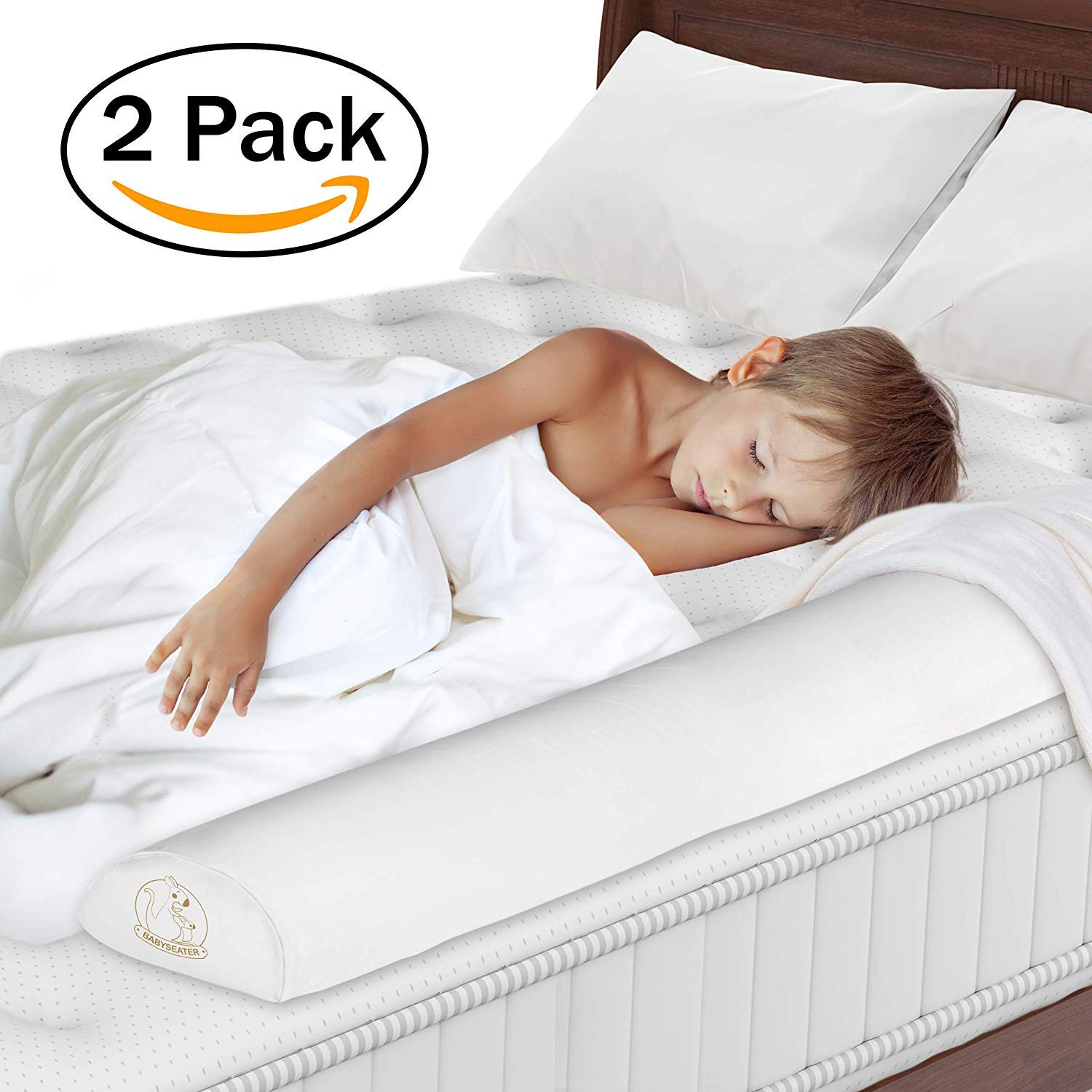 Toddler Bed Rail - Non-Toxic, Water-Resistant Foam Toddler Bed Rail bumper Guard Provides Safety and Reassurance - White, Machine Washable Cover- Non-Slip Side Bed Rail for Kids + Travel Case (2 Pack)