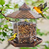 FUNPENY Hanging Wild Bird Feeder, Gazebo Bird Feeder and Garden Decoration for Bird Watchers and Children (Copper Red)