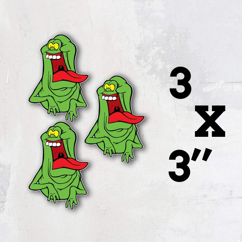 Ghostbusters Cartoon Funny Slimer Vinyl Sticker Art Decal Set of 3 Pieces - 3'' Longer Side