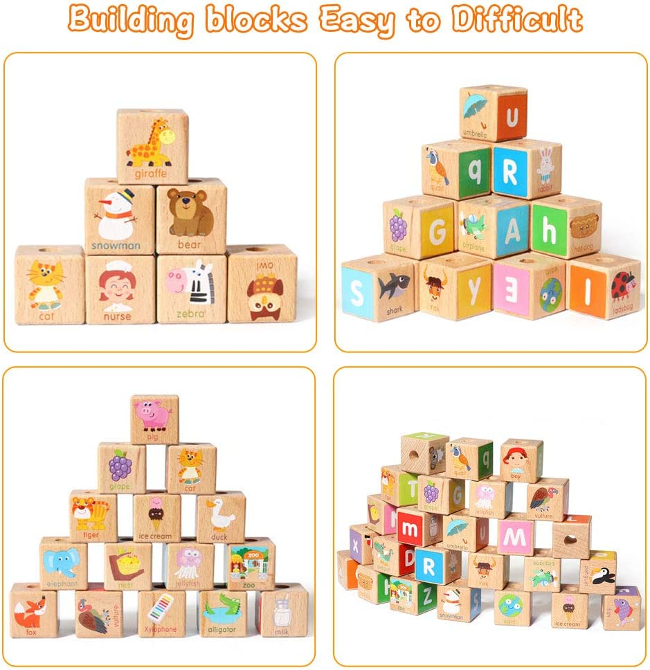 year old Pull along wooden train toys,26 PCS Alphabet Letters Block Set Educational toys for 3 Arkmiido Wooden building blocks Toys for kids montessori toys